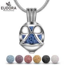 Eudora 8mm Mickey Mouses Locket Lava Stone Pendant Aroma Diffuser Necklace For Essential Oil Perfume Cage Fine Jewelry K345N8