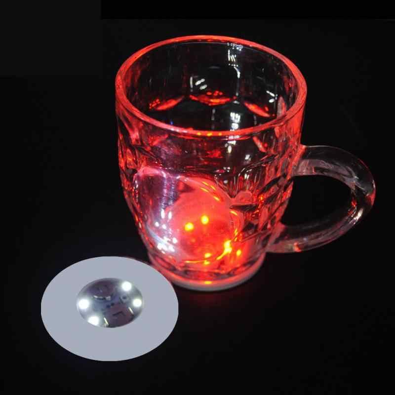 Bateria powered led garrafa adesivos coasters luzes led festa bebida copo esteira vaso de natal ano novo halloween decoração luzes