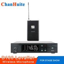 UHF Microfone Sem Fio de lapela Sistema de Microfone sem fio Vocal Mic Bodypack Sincronização IR 100 Ch Ajustável para Cantar Ao Vivo Show