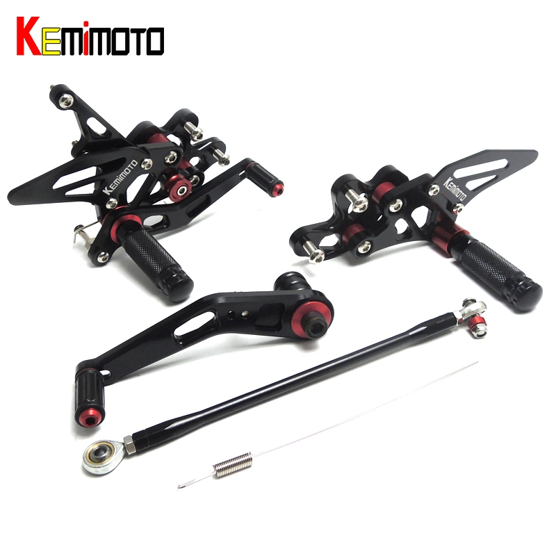 цена на KEMiMOTO GSXR600 GSXR750 CNC Adjustable Rearsets Foot rear Rest For SUZUKI GSX-R GSXR 600 750 K6-K9 /L0 2006 2007 2008 2009 2010
