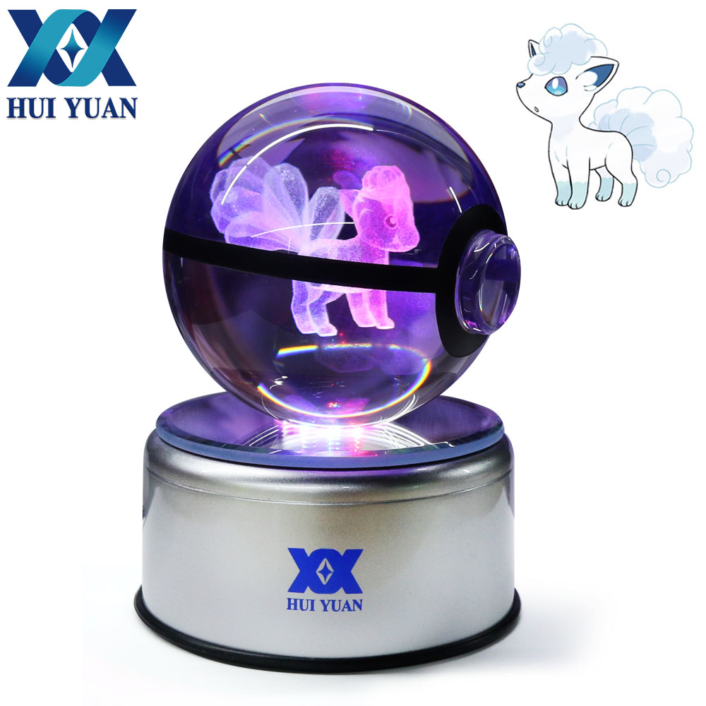 Vulpix 8CM Crystal ball 3D New exotic lamp LED Night Light Magic Ball for Children Gifts Decorative table lamp By HUI YAN Brand