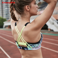 CrazyFit Brassiere Sport bra Top Fitness Women Running Workout Gym Push Up Print Black Shockproof Backless Wirefree Underwear