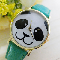 Hot Sales Popular Cute Panda Pattern Round Dial Faux Leather Analog Quartz Adorable Watches Design Watch NO181 5UZV