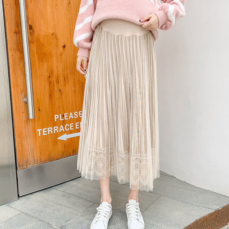Maternity Wear 2019 Pregnant Women Gentle Wind Pleated Skirt In The Long Stomach Lift Adjustable Mesh Skirt