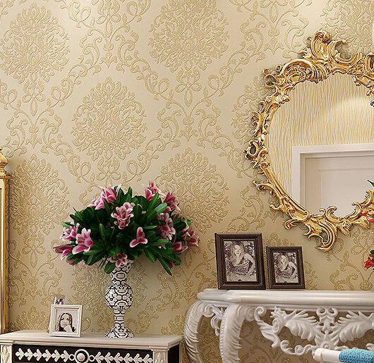 2016 new hot selling and Kim chiu thick continental non-woven wallpaper flowers study bedroom sofa sitting room TV setting wall раздвижная дверь kam chiu