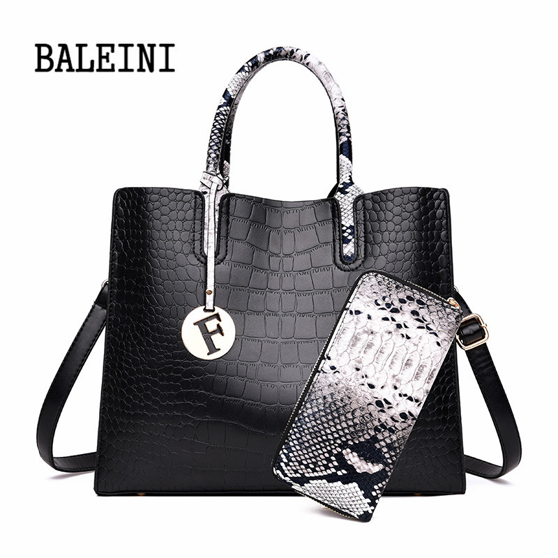Genuine Leather The New Luxury Crocodile Women Shoulder Bags High Quality Women Handbags And Purses 2 Sets Large Ladies Tote