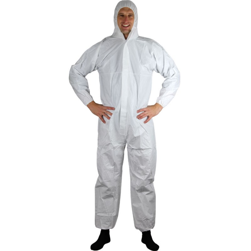 2 Pcs Safety Clothing Chemical Disposable Protective Coverall Hooded Suit Anti Particles/Limited Liquid Chemical Splash