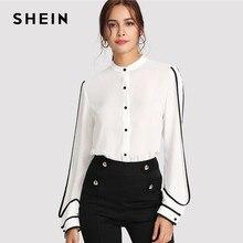 6deab58e44cb2 SHEIN Beyaz Zarif Standı Yaka Uzun Kollu Düğme Siyah çizgili bluz Sonbahar  Kadın Iş Giysisi Gömlek Üst