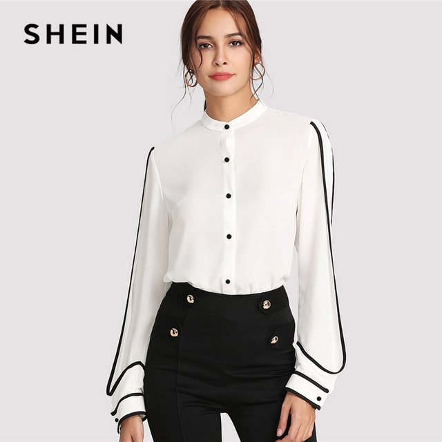903ccdecf19f97 SHEIN White Elegant Stand Collar Long Sleeve Button Black Striped Blouse  Autumn Women Workwear Shirt Top