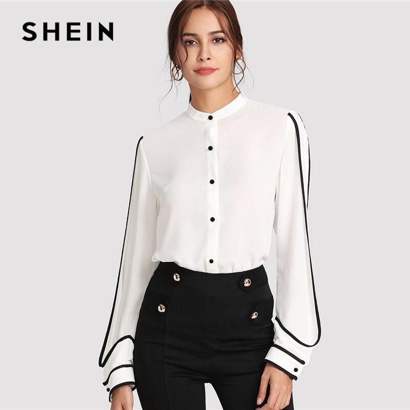 SHEIN White Elegant Stand Collar Long Sleeve Button Black Striped Blouse Autumn Women Workwear Shirt Top