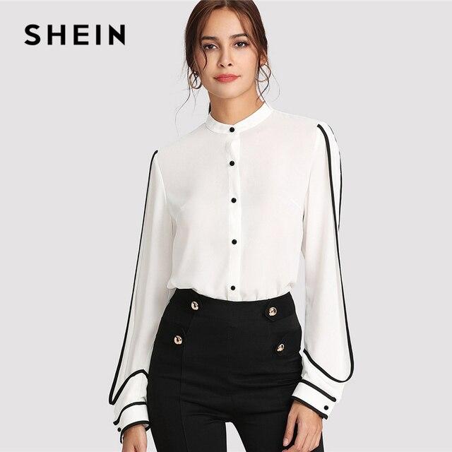 152384d15127d SHEIN الأبيض أنيقة الوقوف طوق طويلة الأكمام زر أسود بلوزة مخططة الخريف النساء  ملابس العمل قميص