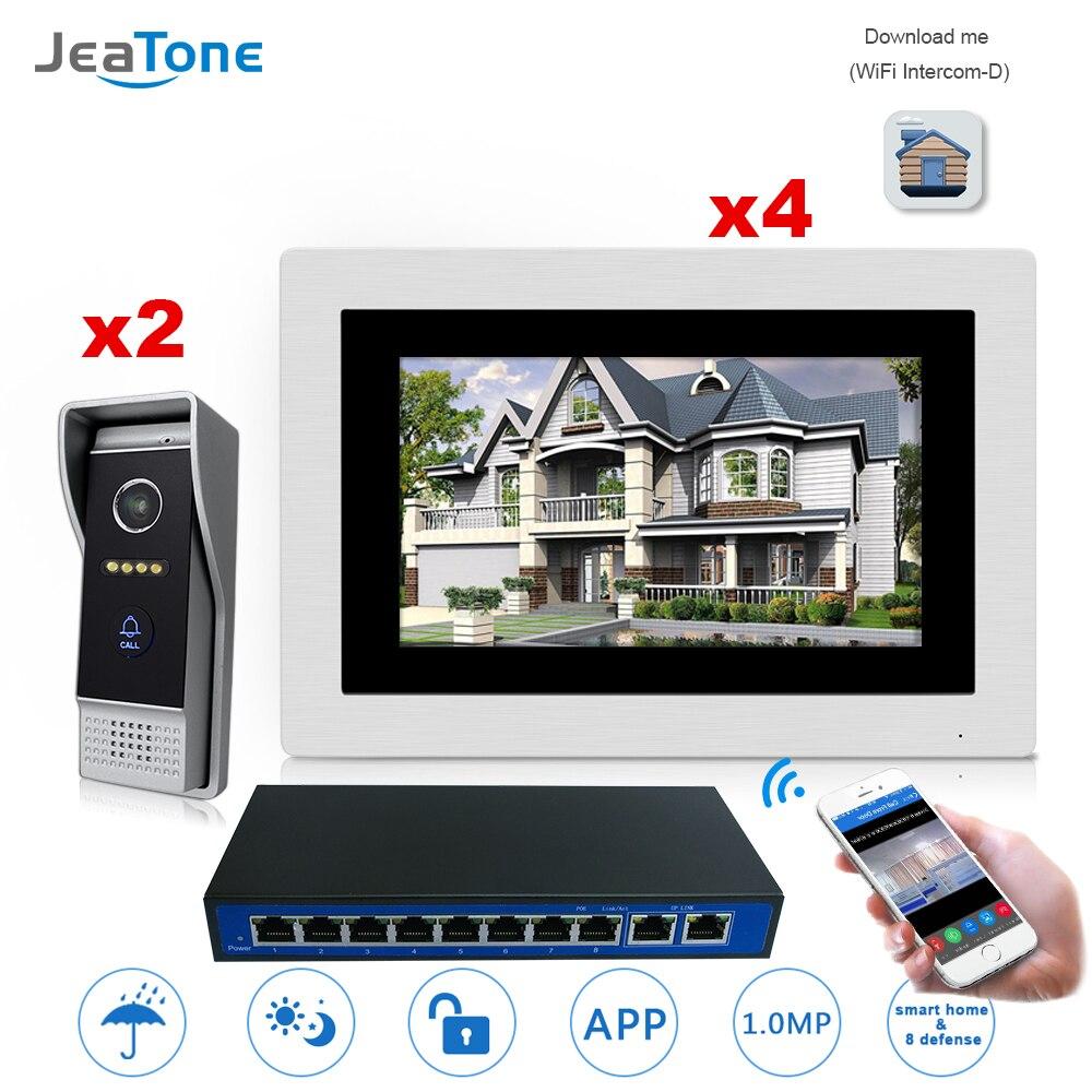 7'' WIFI IP Video Door Phone Intercom Wireless Door Bell Speaker Access Control System Touch Screen Motion Detection 2Doors To 4