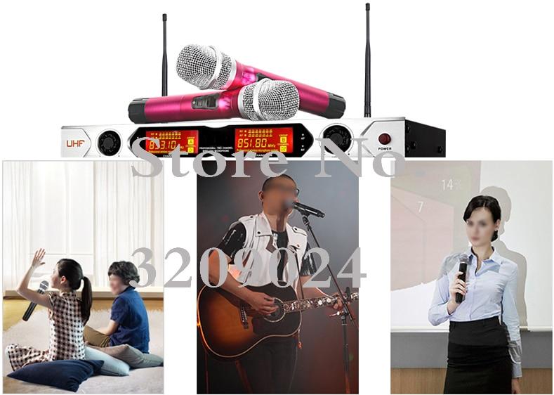 de Karaokê Sem Fio Duplo UHF Microfone