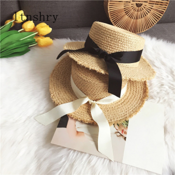 2019 Summer Bowknot Straw Ribbon Sun Hats for Women Beach Fashion Hat Wide Brim Foldable Panama Chapeau Femme