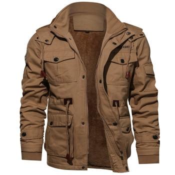 Men Jacket Men's Fashion Winter Thicken Warm Hooded Jackets Coats Mens Cotton Military Fleece Jacket Outerwear Male