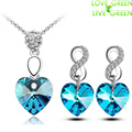 free shipping austrian crystal high quality women Accessories Simple Love Heart Necklaces Pendants Chain Fashion Jewelry sets