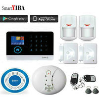 SmartYIBA Wifi Wireless Home Security Alarm System Spanish French Russian Italy Voice Fire Smoke Detector Wireless Siren APP