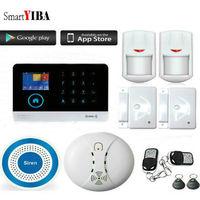 SmartYIBA Wifi Wireless Home Security Alarm System Spanish French Russian Italy Voice Fire Smoke Detector Wireless Siren APP