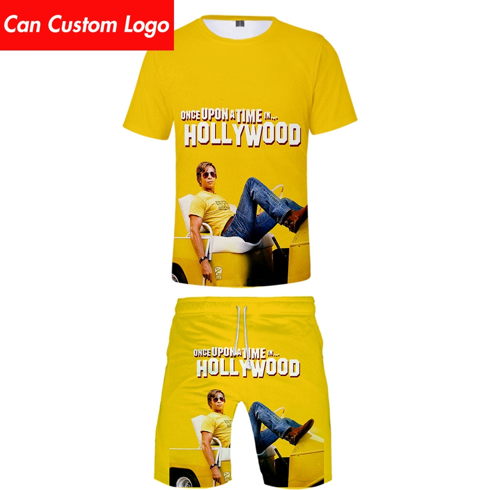 2019 Once Upon A Time In Hollywood Two Piece Set Tshirt And Shorts Harajuku Men Undertale T Shirt Streetwear Harajuku Plus Size