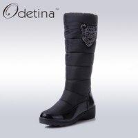 Odetina Plattformkeilschneeschuhe Marke Damen Stiefel Winter 2017 Mode Damen Winter Schuhe Frauen Wasserdichte Stiefel Schwarz