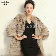 New Fashion Winter Warm Natural Raccoon Dog Fur Coats For Women With Belt Long Luxrious Outerwear Jacket 131014-1