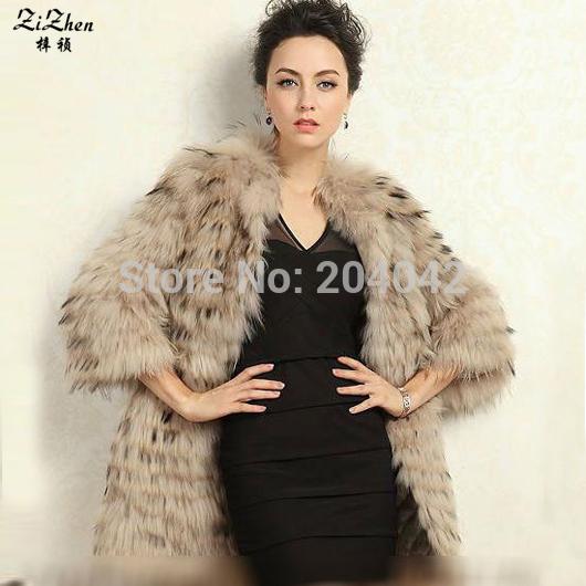Nueva Moda de Invierno Cálido Abrigo de piel de Mapache Natural Para Las Mujeres Con La Correa Larga Luxrious Chaqueta Prendas de Vestir Exteriores 20131014-1