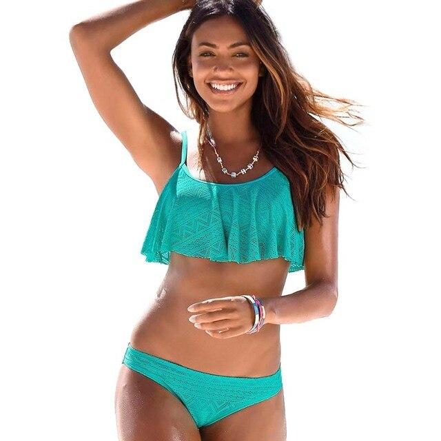 165bd700d10 New Sexy Ruffle Bikinis Women Swimsuit Push Up Swimwear Puse Size Lace  Brazilian Bikini Set Beachwear