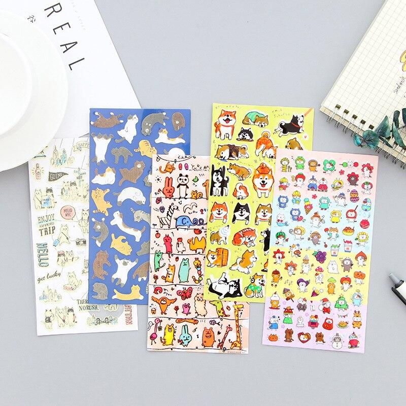 Lovely Cartoon Illustrator Sticker Animal Cat Dog Rabbit Panda Zoo Sushi Emoticon Children Bicycle Decoration Toys Kids Gift