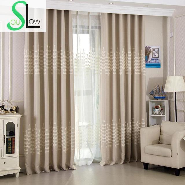trage soul beige gordijnen koreaanse geborduurd linnen aangepaste bladeren tule cortinas voor woonkamer keuken slaapkamer en