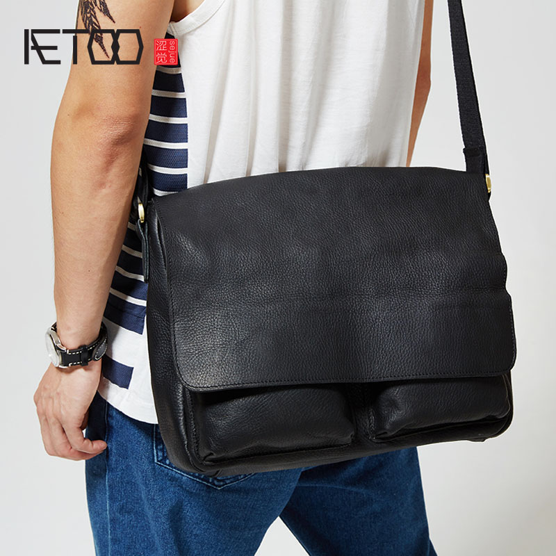 AETOO The original men's Leather Satchel men's leather hand bag casual flip single shoulder bag cross section postman bag casual canvas satchel men sling bag
