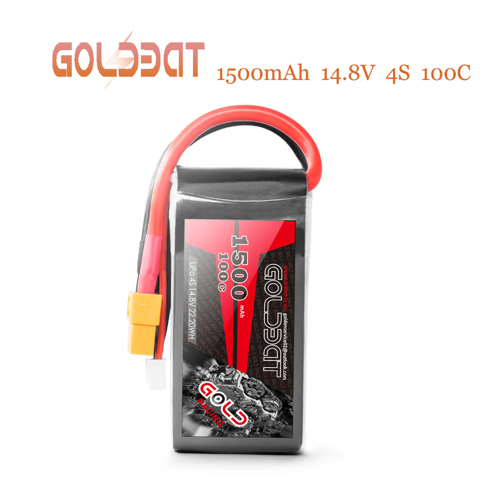 2units GOLDBAT <font><b>1500mAh</b></font> <font><b>4S</b></font> Battery <font><b>lipo</b></font> for Drones 14.8V <font><b>Lipo</b></font> Battery <font><b>4s</b></font> for fpv <font><b>100C</b></font> <font><b>lipo</b></font> with XT60 Plug for Airplane FPV Racing image