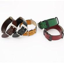 цена на 24mm Light Dark Brown Black Green Red VINTAGE Watch Band Strap Belt Leather Silver Brushed Screw Buckle Luxury Nato Zulu Ring
