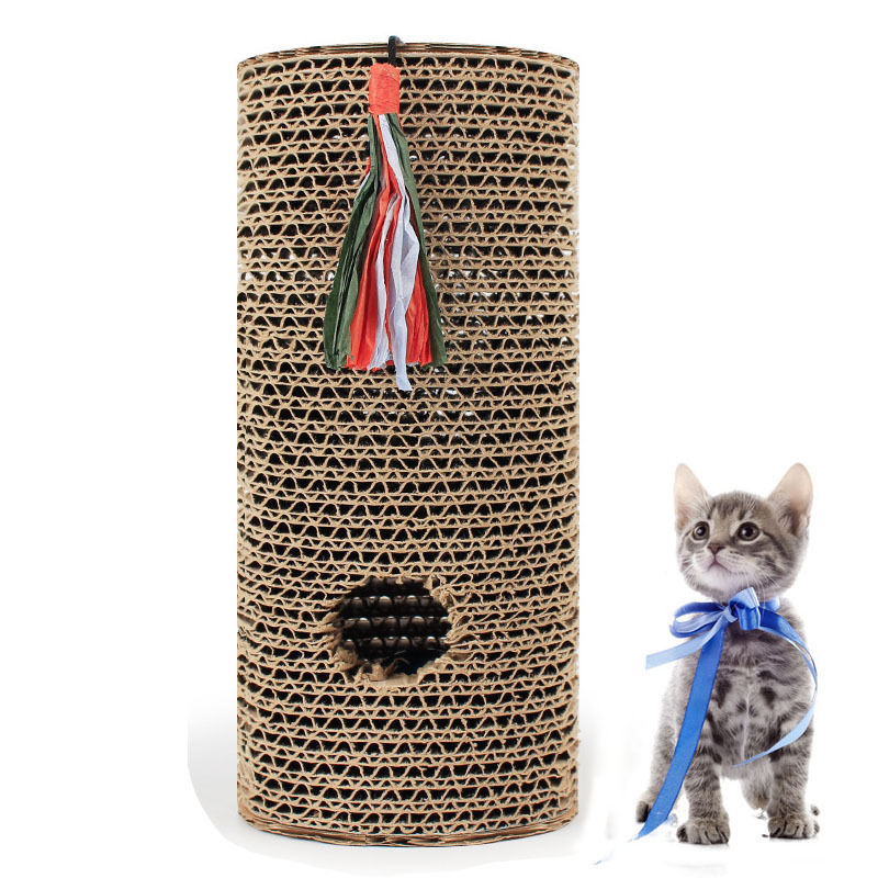 Free Catnip Protecting Furniture Cat Dog Scratching Post Training Roller Toys Rolling Claws Scratcher Cylinder Non-toxic Board
