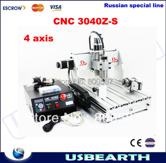 CNC 3040Z-S 4axis,cnc router /Drilling Milling Machine,CNC 3040 engraving machine, Freeshipping to Russia,no tax no tax to russia cnc 5 axis t chuck type include a aixs