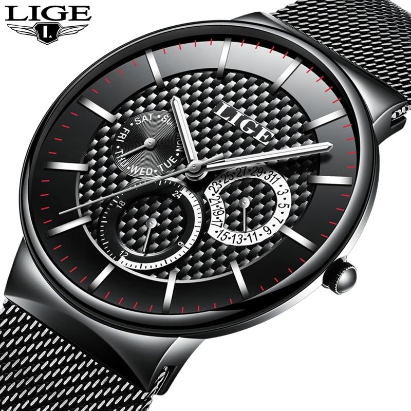 Reloj Hombre LIGE Brand Men's Watches Men Dress Quartz Watch Men Steel Strap watch Male Ultra-thin Ultra Clock Relogio Masculino reloj hombre wishdoit quartz watch men