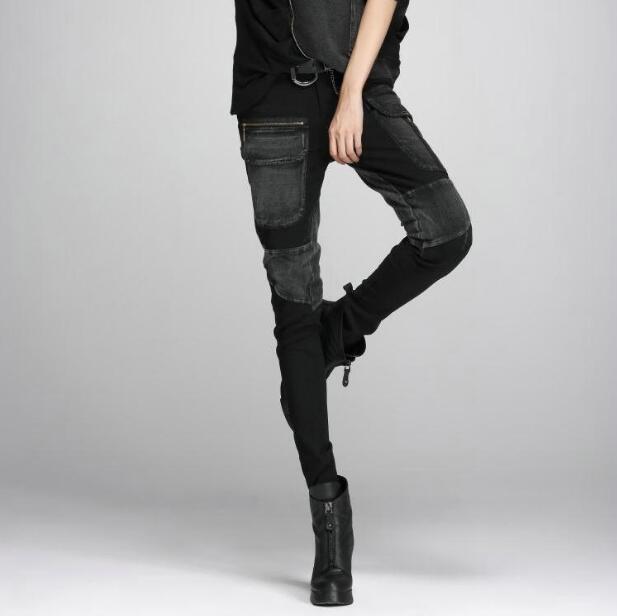 Streetwear Grande De Hip Femme Pieds Sarouel Poche Noir Pantalon Femmes Rue Mince Denim Couture Nouvelle Hop Cargo gEPZq