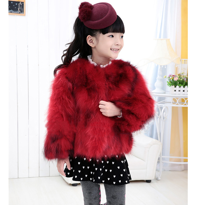 Winter Children Real Raccoon Fur Coat Baby Girls Warm Thick Short Coat Natural Fur Full Sleeve Jackets Kids Red Clothing C#08 winter fashion kids girls raccoon fur coat baby fur coats