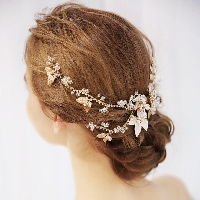 a6c07b8fc43d3 Beautiful Flower Hair Vine Gold Leaves Tiara Hair Clip Wedding Hair  Accessories Bridal Headpiece Women Party