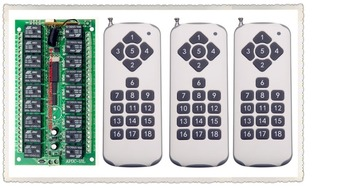 DC 12V  18CH RF Wireless Remote Control Switch System,3 X Transmitter + Receiver,315/433MHZ,Momentary Latched Toggle