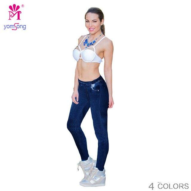 Yomsong 2016 Faux Denim Printing Jeans Leggings For Women Streched Pants  Printing Workout Wear Brand Legging RL241