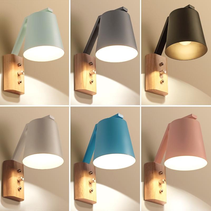 Nordic Creative Bedroom Bedside Wall Lamp Fashion Modern Living Room Staircase Aisle Corridor Macaron Lamp Free Shipping