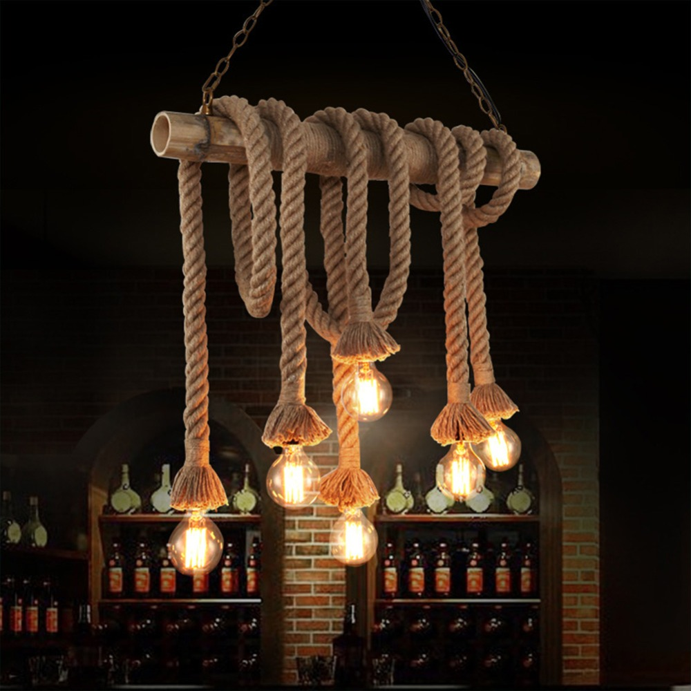 Retro Rope Pendant Light Lamp Loft Vintage Personality