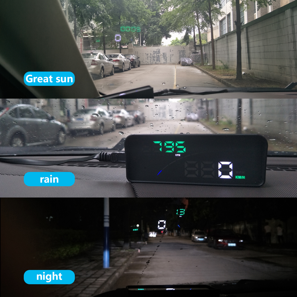 Image 5 - GEYIREN P9 Car HUD Head Up Display OBD Smart Digital Meter For Most OBD2 EUOBD Cars P9 HD Projector Display The Car Dashboard-in Head-up Display from Automobiles & Motorcycles