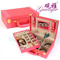Guanya New Necklace Earring Jewellery Container Boxes portable leather Princess Cosmetics Makeup Case jewelry box Gift for Women