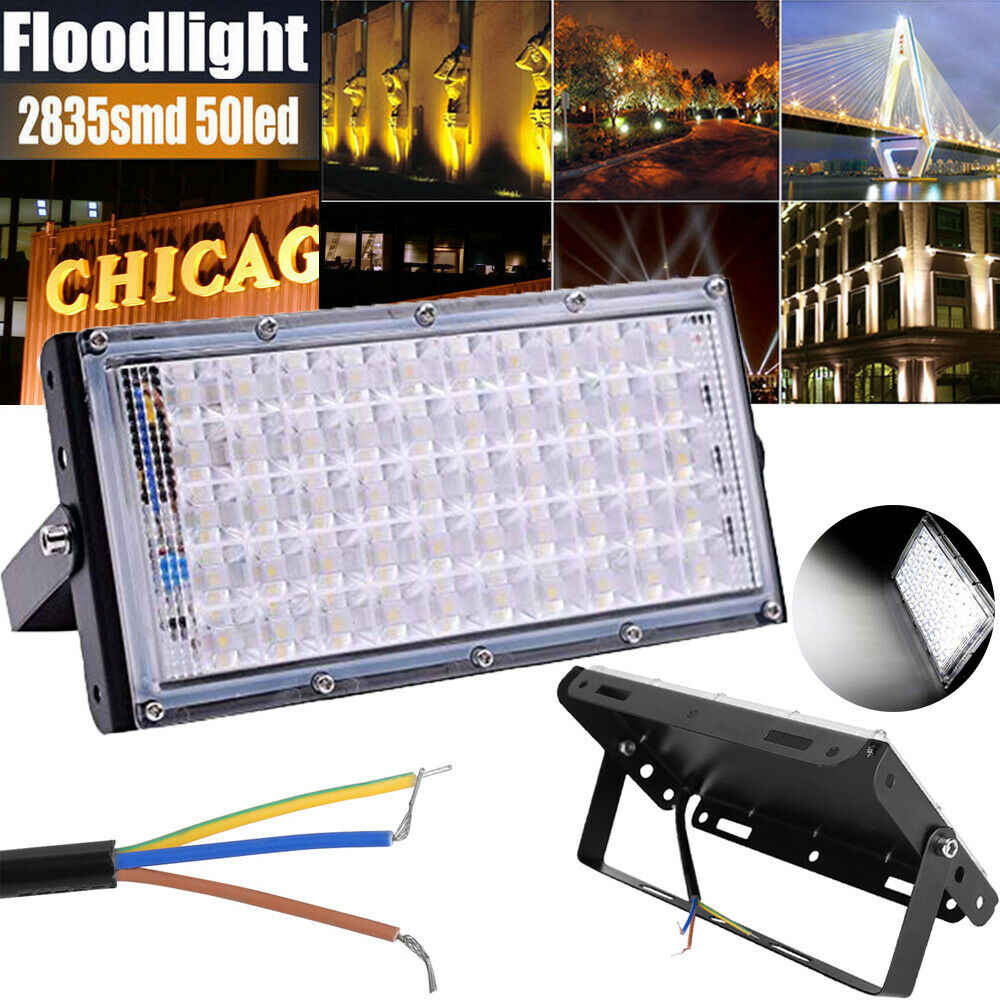 Led Floodlight Outdoor Spotlight 10W 50W Wall Washer Lamp Reflector IP65 Waterproof Lighting Garden RGB Flood Light AC 220V 240V