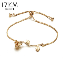 17KM Fashion Rose Flower Charm Bracelet For Women Girl Bracelet Bangle Adjustable Pulseras Mujer Wedding Bridal