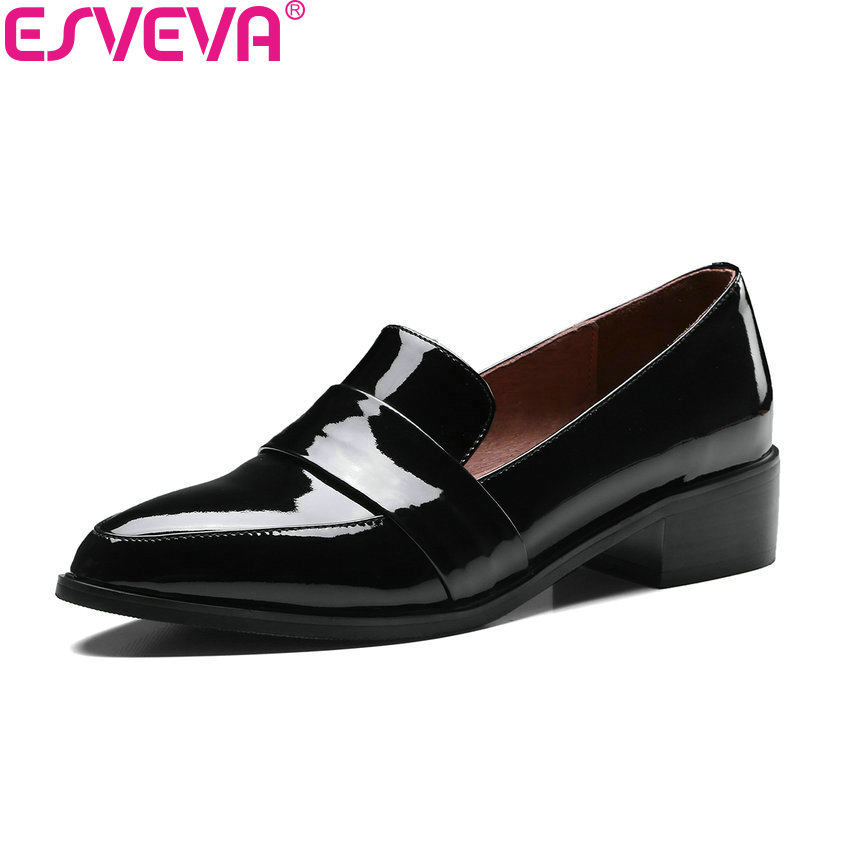 ESVEVA 2018 Women Pumps Spring Autumn Square Heels Slip on Cow Patent Leather PU Pointed Toe Med Heels Ladies Shoes Size 34-39 memunia spring autumn fashion lace up ladies shoes med heels square toe high quality patent leather black casual shoes