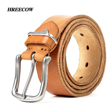 Man belt 2017 100% cowhide genuine leather belts for men brand Strap male fancy vintage jeans cintos pin buckle free shipping