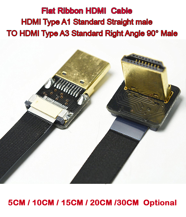 5/10/15/20/30CM FPV HDMI Cable Standard HDMI Male Interface To Standard HDMI Male Interface 90 Degree For RED BMCC FS7 C300