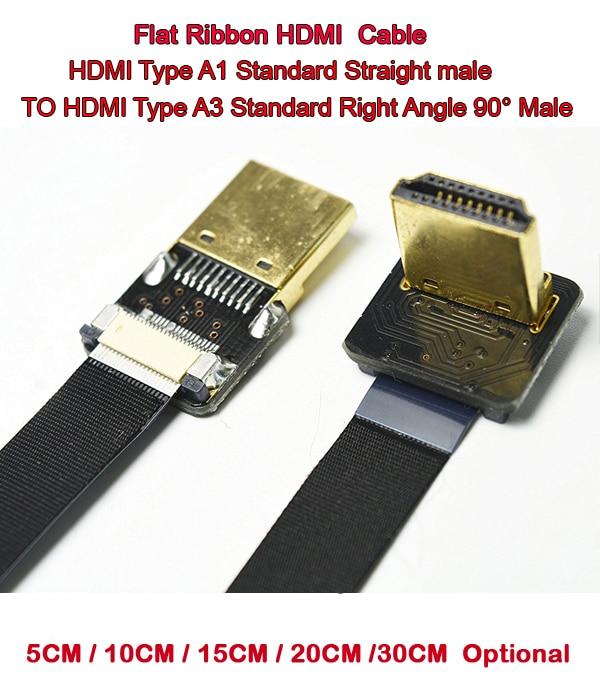 5/10/15/20/30CM FPV HDMI Cable Standard HDMI Male Interface To Standard HDMI Male Interface 90 Degree For RED BMCC FS7 C300